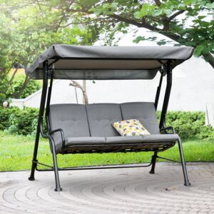 Outsunny 3 Seater Outdoor Garden Swing Chairs Thick Padded Seat Hammock Canopy Porch Patio Bench Bed - Grey
