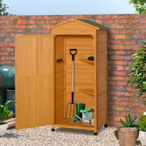 Outsunny Wooden Garden Cabinet 3-Tier Storage Shed 2 Shelves Lockable Organizer with Hooks Foot Pad 74 x 55 x 155cm Dark Yellow