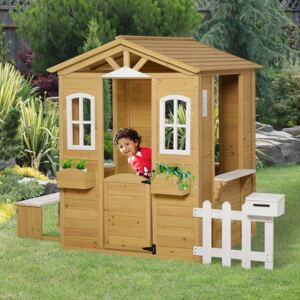 Outsunny Wooden Playhouse for Outdoor with Door Windows Mailbox Flower Pot Holder Serving Station Bench for Kids Children Toddlers Natural