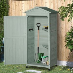 Outsunny Wooden Garden Cabinet 3-Tier Storage Shed 2 Shelves Lockable Organizer with Hooks Foot Pad 74 x 55 x 155cm Green