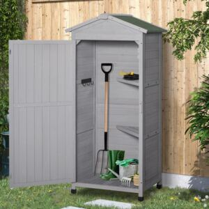 Outsunny Wooden Garden Cabinet 3-Tier Storage Shed 2 Shelves Lockable Organizer with Hooks Foot Pad 74 x 55 x 155cm Light Grey