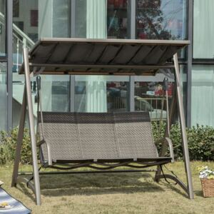 Outsunny 3 Seater Rattan Swing Chair Garden Swing Bench Patio Outdoor Hanging Porch Swing with Adjustable Canopy, Aluminum Frame, Brown