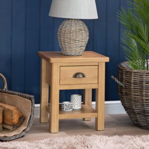 Rutland Oak Lamp Table with Drawer