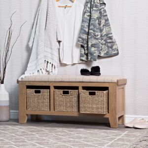 Wessex Smoked Oak Hall Bench with Wicker Baskets