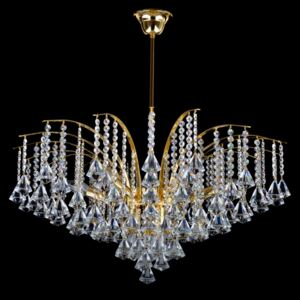 9-bulb crown ceiling lamp with crystal pyramids