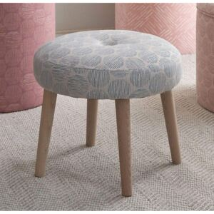 Dunes Reef Stool with Wood Legs - 40cm Diameter x H 36cm / Blue / Cotton and Wood