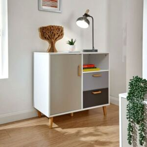 White Multi Coloured Compact Sideboard
