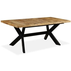 Dining Table Solid Mango Wood and Steel Cross 180 cm