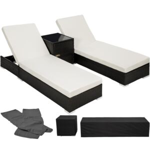 Tectake 401500 2 sunloungers + table with protective cover rattan aluminium - black