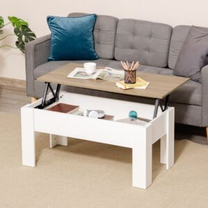 HOMCOM Lift Top Coffee Table with Hidden Storage Compartment, Lift Tabletop Pop-Up Center Table for Living Room