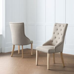 Loire Oatmeal Fabric Button Back Dining Chair
