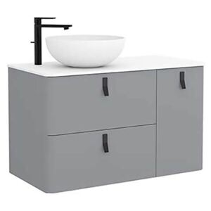 Bathstore Sketch 900 Right Hand Wash Bowl and Unit - Pale Grey