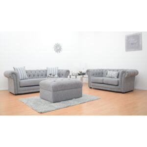 Chesterfield Fabric High Arm 3 & 2 Sofa with Footstool - Light Grey