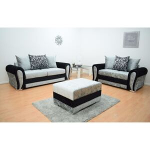 Paris Velvet 3 & 2 Seater Hand Crafted sofa with Footstool - Black & Silver