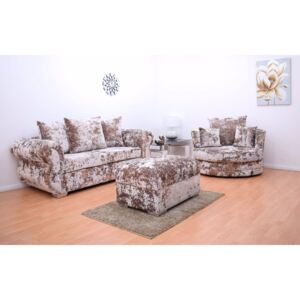 Windsor Double Crushed Velvet 3 Seater Hand Crafted Sofa & Cuddle Chair with Footstool - Gold