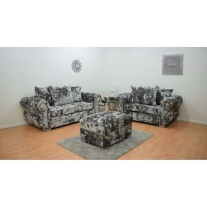 Windsor Double Crushed Velvet 3 & 2 Seater Hand Crafted Sofa with Footstool - Grey