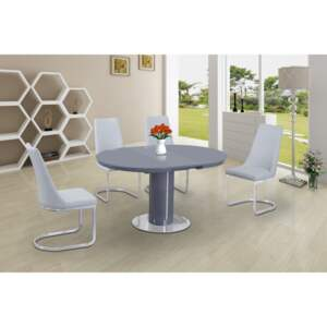 Osborne Grey & White Table Extended & Curvster White 4 Chairs