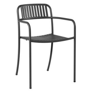 Patio Lames Stackable armchair - / Slats - Stainless steel by Tolix Black