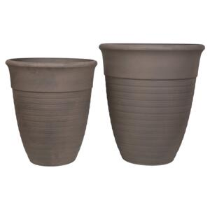 Set of 2 Plant Pots Planters Solid Brown Stone Mixture Round Various Sizes Outdoor Resistances All-Weather Beliani