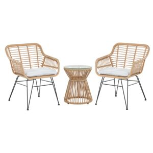 Bistro Set Brown Faux Rattan Black Steel Hairpin Legs 2 Chairs with Grey Cushions Glass Table Top Modern 2 Seater Outdoor Set Beliani