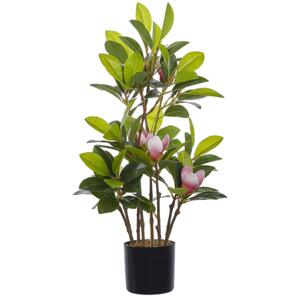 Artificial Potted Magnolia Green and Pink Synthetic Material 70 cm Decorative Indoor Accessory Beliani