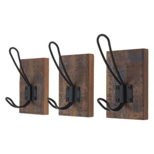 Black Wire Hook on Antique Board - 3 pack