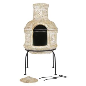 Star Flowers Clay Chimenea With Grill