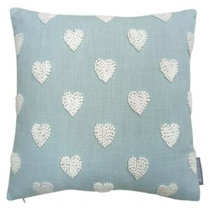 Country Living French Knot Heart Cushion - 40x40cm - Duck Egg