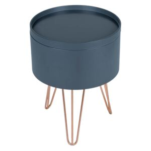 Storage Tray Side Table - Charcoal with Rose Gold Metal Legs