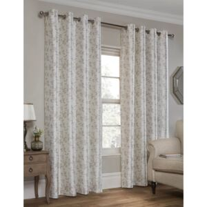 Faux Silk Leaf Natural Lined Eyelet Curtains 117cm x 137cm