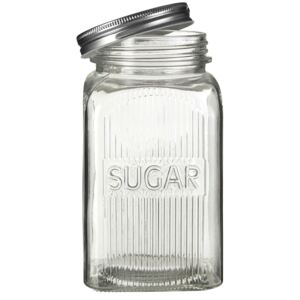 Embossed Glass Jars with Silver Finish Lids