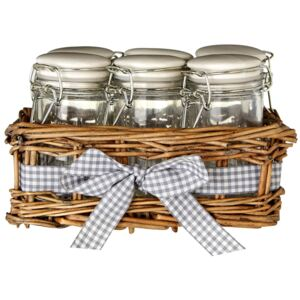 Country Cottage Glass Spice Jars- Set of 6