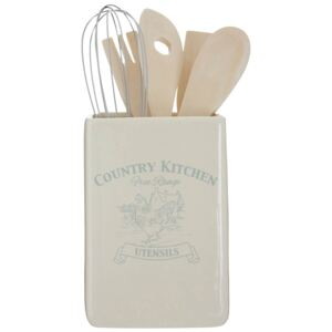 Country Kitchen Utensil Holder with Tools
