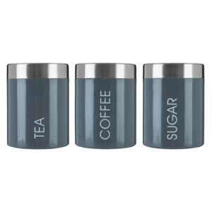Grey Enamel Liberty Canisters - Set of 3