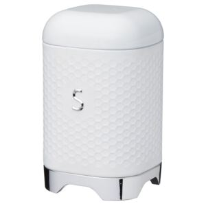 Lovello Textured Sugar Canister with Geometric Hexagon Pattern Ice White
