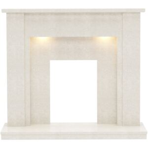 Be Modern Elda Marble Electric Fireplace Surround - Manila with Lights