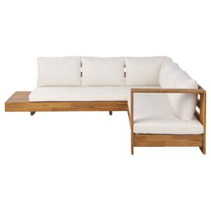 Outdoor Lounge Set Light Acacia Wood with Off-White Cushions Large Sofa with Side Table Beliani