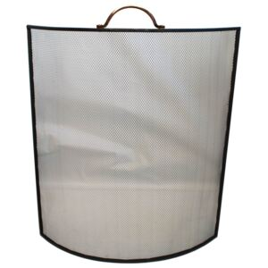 Black Curved Fire Screen Copper Handles