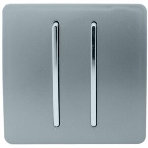 Trendi Switch 2 Gang 2 Way 10Amp Light Switch in Cool Grey
