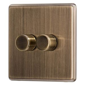 Arlec Fusion 2 Gang 2 Way Antique Brass Dimmer switch
