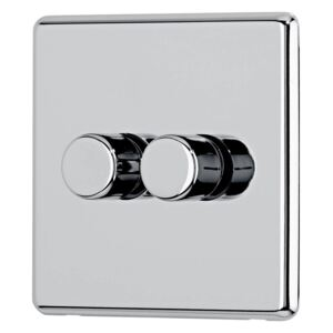 Arlec Fusion 2 Gang 2 Way Polished Chrome Dimmer switch