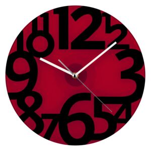 Wall Clock - Red Glass with Black Numbers