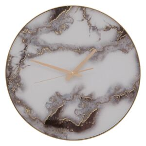 Celina Wall Clock - Grey & White Faux Marble