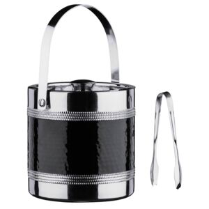 Ice Bucket with Tongs - Hammered Black Band