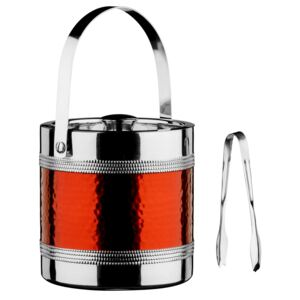 Ice Bucket with Tongs - Hammered Red Band