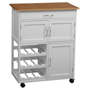 White and Bamboo Top Kitchen Trolley