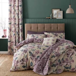 Catherine Lansfield Painted Floral Easy Care King Duvet Set - Plum