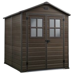 Keter Scala 6 x 8ft Outdoor Plastic Garden Storage Shed - Brown