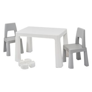 White Grey Height Adjustable Table Set