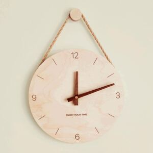 Nordic Hanging Rope Wooden Wall Clock